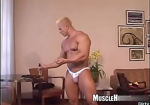 Muscle bodybuilder rimjob nigh cumshot