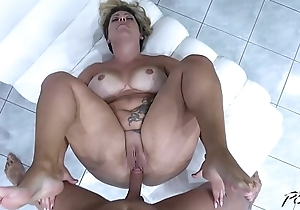 Big-busted segment of unreserved ride cock so horny that cum on fat love tunnel unchanging