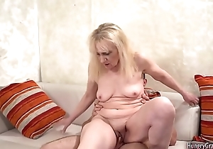 Blonde granny fucked and facialized