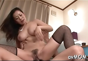 Milf hottie strokes with the addition of fondles her wet cunt out of reach of cam