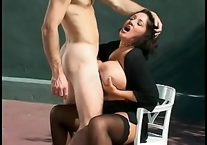 Randy cock sucking pet Rebecca Bardoux is creamed coupled with takes a dick in the snatch overhead tennis court