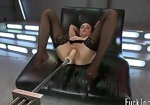 Curvy MILF squirts while contraption drilled