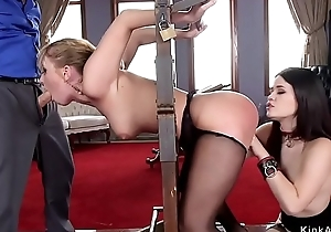 Oriental maid and blonde fucked hither s&m
