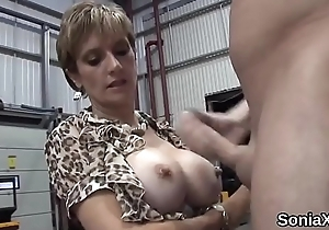 Unfaithful english milf lass sonia showcases her huge balloons